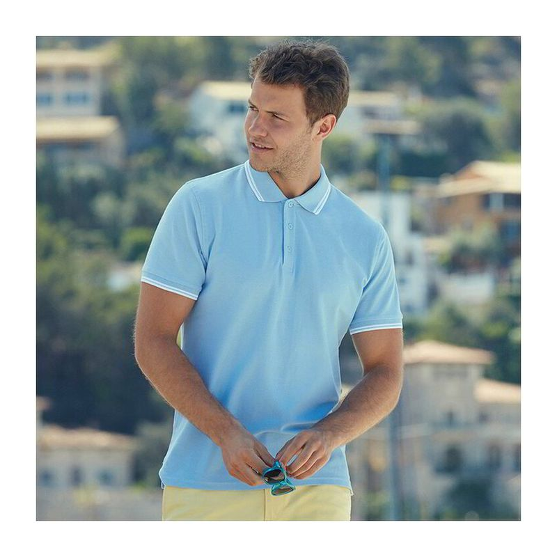 FU26 POLO WHITE-DEEP NAVY L
